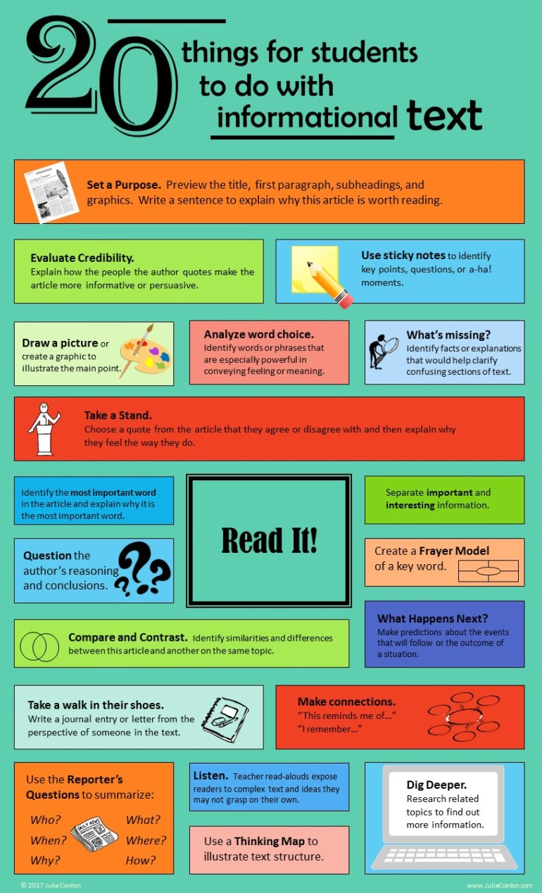 20 Things For Students To Do With Informational Text